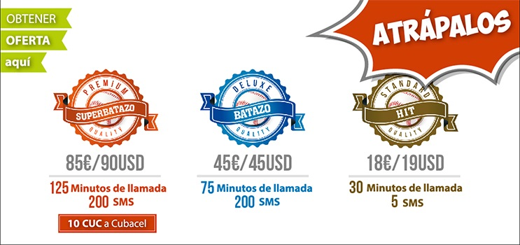 Batazos a Cuba minutos sms y Recargas a Cubacel