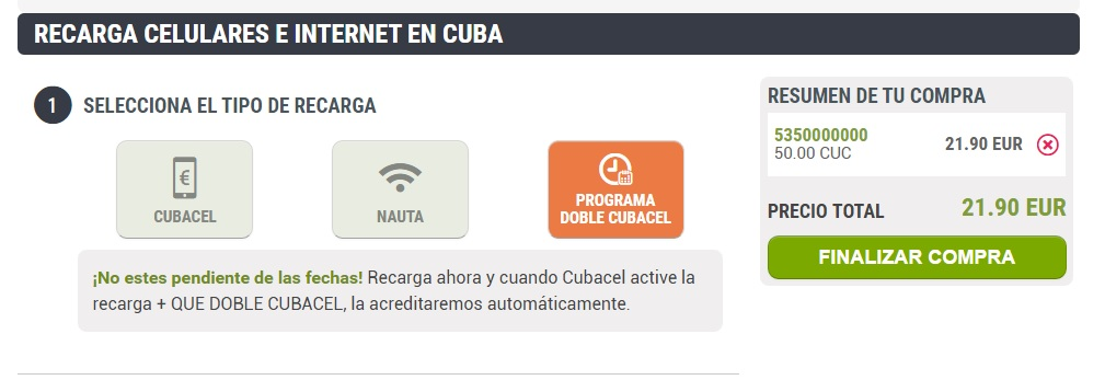 Doble a Cubacel