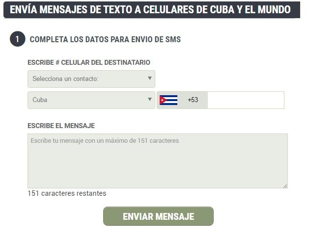 Envia sms A CUBA